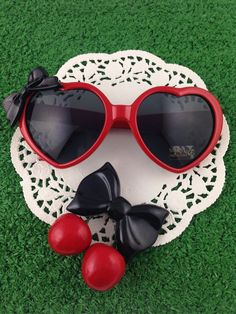 Very Valentine's Day - Retro Red Heart Pin Up Bow Sunglasses and Black by WildPipchicks, $15.00
