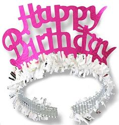 Sweet 16 party pink fringed happy birthday tiara