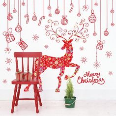 6.29$  Buy now - http://diq52.justgood.pw/go.php?t=199952901 - Merry Christmas Red Milu Glass Window Removable Wall Stickers