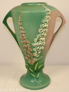 Roseville Pottery Foxglove Green Vase 55-16 from Just Art Pottery