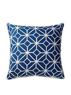 Geometric Square Throw Pillow, Navy/White