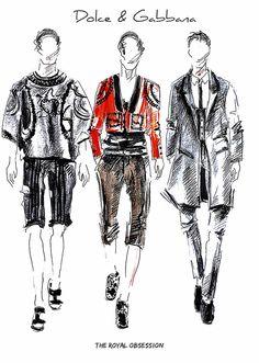 Dolce & Gabbana Menswear Spring 2015. Fashion Illustration by Doryanna Popa.
