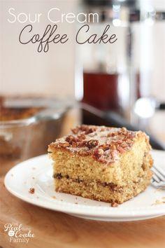 Moist, delicious Sour Cream Coffee Cake Recipe. #CoffeeCake #Recipe #SourCream #RealCoake