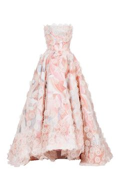 Botanics Layered Gown by Maticevski Floral Evening Dresses, Pink Evening Gowns, Pink Gowns, Floral Dresses, Long Dresses, Dress Long, Floral Applique Dress, Floral Print Gowns, Floral Gown