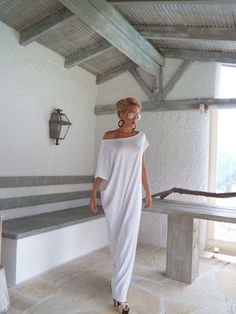 White Maxi Dress / White Kaftan / Asymmetric by SynthiaCouture