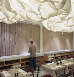 Nobis Hotel by Claesson Koivisto Rune via ArchDaily. (Actually, I don't think this is a ceiling – looks more like a light… But it has the effect of a sculpted ceiling so it made the cut.)  Source: http://www.yellowtrace.com.au/nerding-out-on-shit-hot-ceilings-part-1/