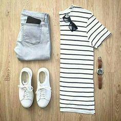 Minimal casual style, can be dressed up or down with add ons and accessories.