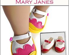 Pixie Faire Miche Designs Mary Janes Doll Clothes Shoe Pattern for 18 inch American Girl Dolls - PDF
