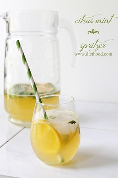 Ingredients 1 cup water 1 cup sugar 1/4 cup fresh mint leaves 2 large oranges, juiced 2 lemons, juiced 4 cups Sprite or Lime Soda mint leaves, orange slices, and lemon slices for garnish