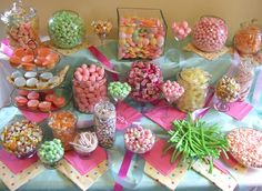 Pastel wedding candy buffet.