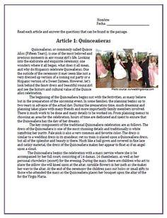 Quinceañera Sub Plan for Spanish classes