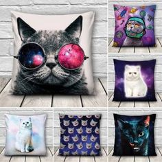 Creative 3D Galaxy Space Cats Throw Pillows Case Home Sofa Office Car Cushion Cover Gift - Banggood Mobile