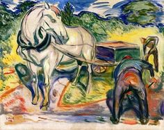 Edvard Munch, Digging Men with Horse and Cart (1920) (120 pieces)