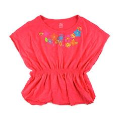 girls batwing top, children's place top, coral top