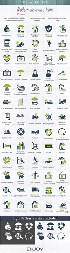 Modern  Insurance Icons — Photoshop PSD #savings #family • Available here → https://graphicriver.net/item/modern-insurance-icons/13268872?ref=pxcr