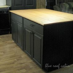 Diy Large Kitchen Island Out Of Two Old Side The Road Free Cabinets Complete