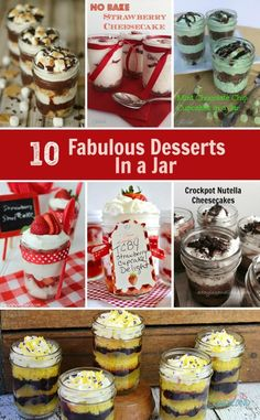 Fabulous Desserts in a Jar 10 Fabulous Desserts in a Jar are easy recipes for your after dinner treat. The perfect size for an individual Fabulous Desserts in a Jar are easy recipes for your after dinner treat. The perfect size for an individual dessert. Mason Jar Desserts, Mason Jar Meals, Meals In A Jar, Mini Desserts, Easy Desserts, Delicious Desserts, Dessert Recipes, Jar Recipes, Candy Recipes