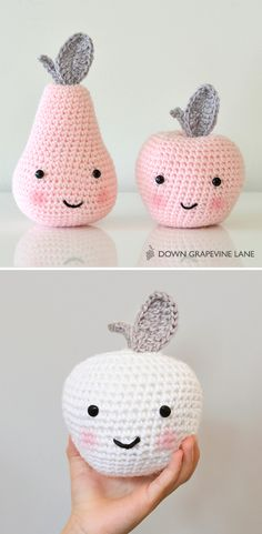 Adorable Pear and Apple Crochet Amigurumi Patterns. Adorable Pear and Apple Crochet Amigurumi Patter Crochet Apple, Crochet Diy, Crochet Food, Crochet Patterns Amigurumi, Crochet Crafts, Crochet Dolls, Yarn Crafts, Tutorial Crochet, Yarn Projects