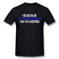 Amazon.com: RIen Men's I Am Sheepdog Thin Blue Line T-Shirt - Black: Clothing