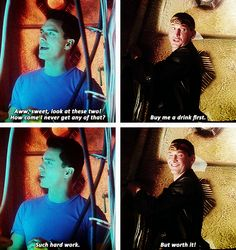 """(gif set) """"But worth it!""""     Jack and the Ninth Doctor     Doctor Who 1x11 """"Boom Town"""""""