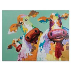 Yosemite Home Decor Curious Cows: 48 X 36 Hand Painted Canvas Wall Art Hand Painting Art, Oil Painting On Canvas, Canvas Artwork, Canvas Paintings, Hand Painted Walls, Hand Painted Canvas, Art Pop, Cow Canvas, Canvas Wall Art