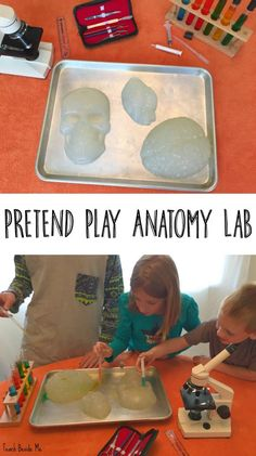 Create a pretend play anatomy lab, perfect for halloween science or any anatomy unit! Science Activities For Kids, Stem Science, Preschool Science, Science Experiments Kids, Science Lessons, Hands On Activities, Toddler Activities, Preschool Activities, Science Ideas