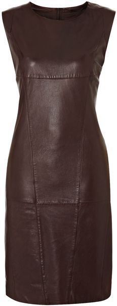 Vallo Short Sleeve Leather Dress - Lyst (Weekend by Magma) this would be the bomb with a pair of shoes the same color lol)☺