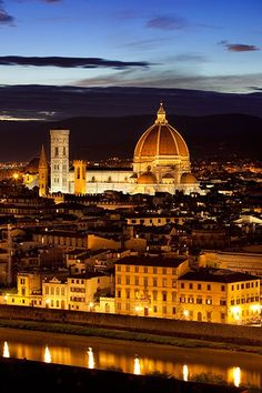 Nightfall in Florence, Italy