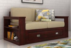 Shop Wendel 2 Seater Sofa With Storage in Mahogany Finish which provides you with sufficient storage space to house various stuff. The two seater sofa with storage offers to be a convenient solution. Get two seater sofa online in Sofa Furniture, Furniture Design, Wooden Sofa Set Designs, Sofa Set Online, Portable Bed, Pooja Room Design, Types Of Sofas, Bedroom Sofa, Large Sofa