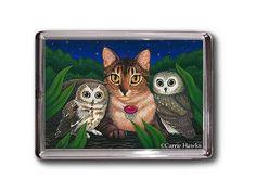 Gufi gatto magnete visto stuzzicare gufo gatto abissino fantasia gatto arte incorniciata magnete regali per gli amanti del gatto
