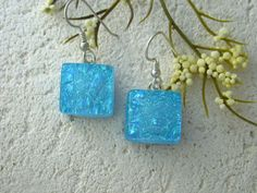 Handmade Aqua Blue Silver Earring, Dichroic Earring, OOAK Fused Glass Jewelry, Dichroic Jewelry, Dangle Drop Earrings, ccvalenzo, 101320e100