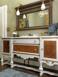 Dining Room Sideboard + Secondhand Sink = Bathroom Vanity >> http://www.diynetwork.com/decorating/redo-it-upcycle-dressers-headboards-and-beds/pictures/index.html?soc=pinterest