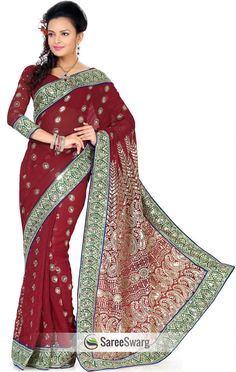 Splendorous Dark Maroon Color Faux Georgette Saree with Blouse