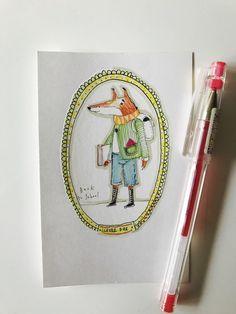 Items similar to Original Art Illustration Red Fox starts school. School uniform backpack fox art on Etsy