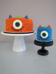 monster 1st birthday cakes! by confectioneiress