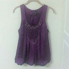 Windsor Embellished Plum Flowy Lined Blouse Large Gorgeous silky tank style dressy blouse. The bodice embellishments are truly unique. Shirt is fully lined and in excellent condition. Flowy with banded waist. Dress it up for work, dress it down for fun. Pictures do not do this shirt justice! WINDSOR Tops Blouses