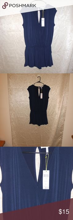 """BCBG Blue Romper. NWT. BCBG Romper. New,, no rips, stains, or tears.  Women Size  20 inches from armpit to armpit 21.5"""" from top of garment to waist band.  11.5"""" from waist band to bottom of garment. BCBG Pants Jumpsuits & Rompers"""