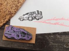 DeLorean from Back to the future. Hand carved by HandCarvedStamps