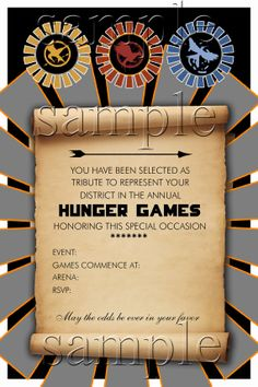 Hunger Games Party Invitation by BookishWays on Etsy, $12.00.  Ok, this sounds awesome.  We should totally have a Hunger Games themed competition party with the family, you know, without the killing.