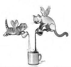Caffeine Cats Illustration by ©doodleofboredom Oh Caffeine Cats, I summon thee! Crazy Cat Lady, Crazy Cats, Fly Drawing, Flying Cat, Tatoo Art, Tumblr, Fantastic Beasts, Moose Art, Illustration Art