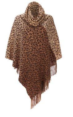 Leopard Ombre Cowl Poncho  $52.00