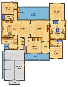 Plan Five Bedroom Southern House Plan Love! Modify bedroom 2 into larger master closet and workout room. Back bedroom would be perfect man cave w door to patio. Five Bedroom Southern House Plan – Southern House Plans, Cottage House Plans, Bedroom House Plans, Country House Plans, Modern House Plans, Southern Homes, Small House Plans, House Floor Plans, Autocad