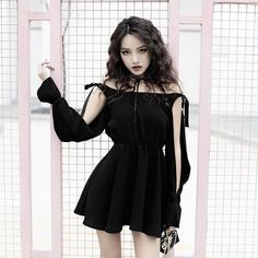 2019 New Autumn Winter Women Gothic Punk Mini dress High quality Long sleeve Hollow out sexy Black dress Fashion dresses Female Black Women Fashion, Look Fashion, Korean Fashion, Fashion Beauty, Womens Fashion, Fashion 2018, Fashion Trends, Edgy Outfits, Cute Outfits