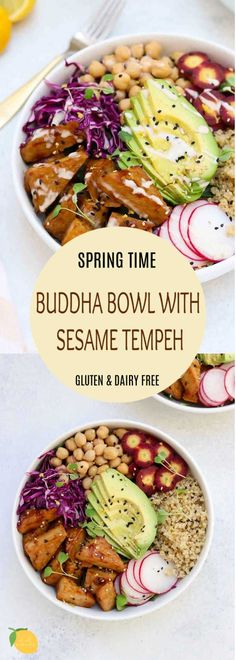 Vegan Detox Buddha Bowl Easy and delicious this detox buddha bowl and vegan tempeh recipe is the perfect recipe for Spring. Made ultra delicious with an orange tahini dressing! Tempeh Recipes Vegan, Vegan Bowl Recipes, Vegetarian Recipes, Healthy Recipes, Vegetarian Salad, Healthy Eats, Recipe Bowl, Diet Recipes, Tahini Dressing