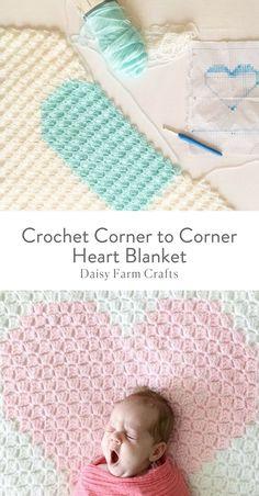 Crochet Blankets Ideas Free Pattern - Crochet Corner to Corner Heart Blanket - I'm going to do my best explaining how to do Corner to Corner crochet but honestly, if you have never… Crochet Heart Blanket, Baby Afghan Crochet, Manta Crochet, Crochet Blanket Patterns, Crochet Blankets, Baby Afghans, Baby Blankets, Quick Crochet, Knit Or Crochet
