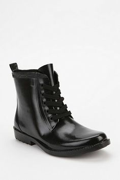 Short Lace-Up Rain Boot