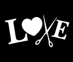 Love To Cut Hair Stylist Barber Scissors Vinyl Decal Wall/Car Decor