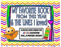 My Favorite Book & Lines I Loved: Digital &... by The Digital Daydreamer | Teachers Pay Teachers