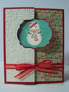 Christmas card - snowman - Stampin Up Thinlits - label card, flip card