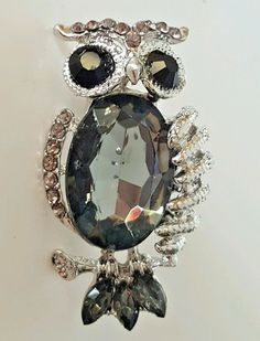 Silver Tone Charcoal Black Simulated Crystal Owl Lapel Pin Scarf Brooch #Unbranded